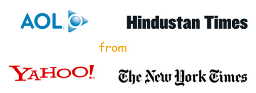 AOL, Yahoo, Hindustan Times, The New York Times