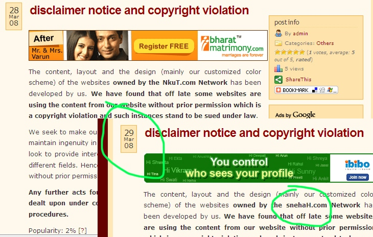 snehaH.com Disclaimer Date