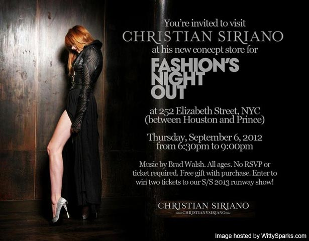 Christian Siriano - Fashion's Night Out Invitation - Thursday September 6, 2012 - at 252 Elizabeth Street NYC