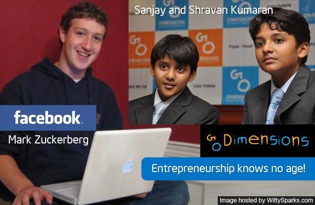Founders of Go Dimensions Sanjay and Shravan Kumaran and Facebook founder Mark Zuckerberg