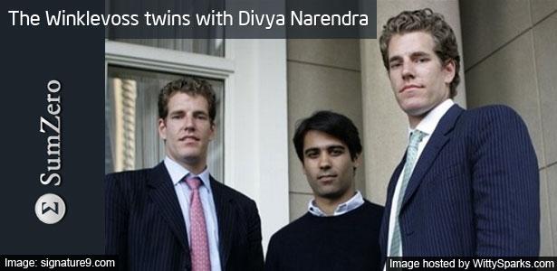 Tyler Winklevoss, Cameron Winklevoss twins with Divya Narendra - SumZero