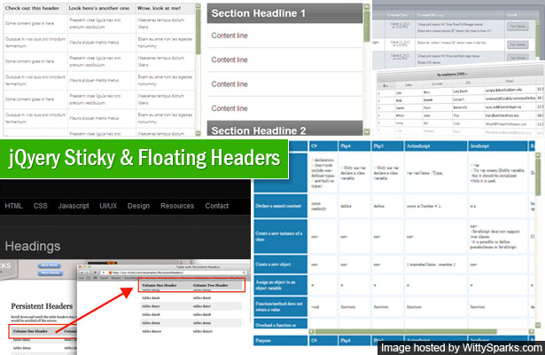 20 jquery plugins and tutorials for sticky layer or table for Table header th