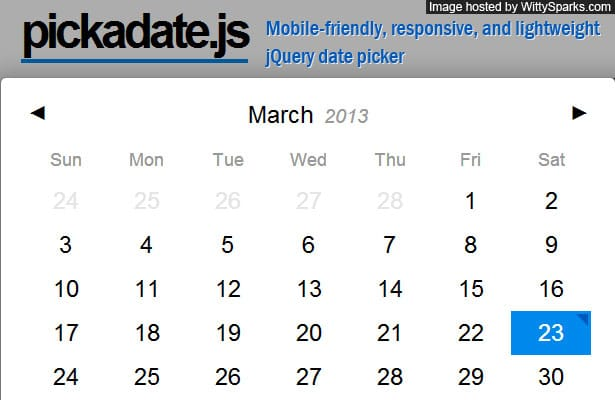 Pickadate.js - A mobile-friendly, responsive, and lightweight jQuery date picker