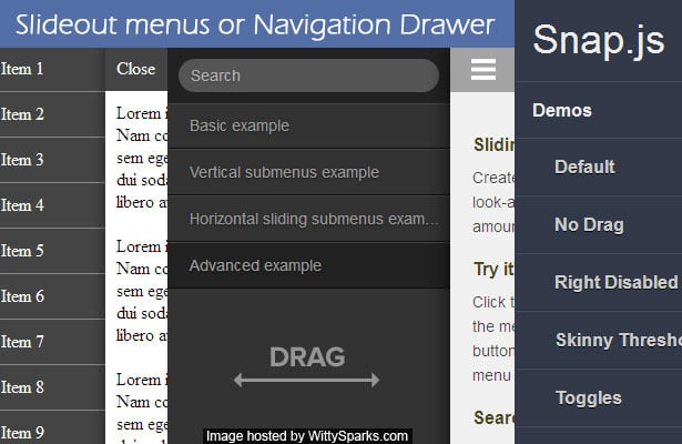 Slide out or Navigation Drawer jQuery Menus for your next