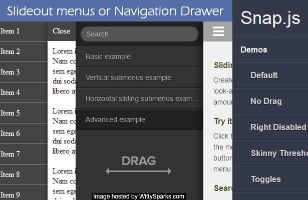 jQuery based Slideout menus or Navigation Drawer