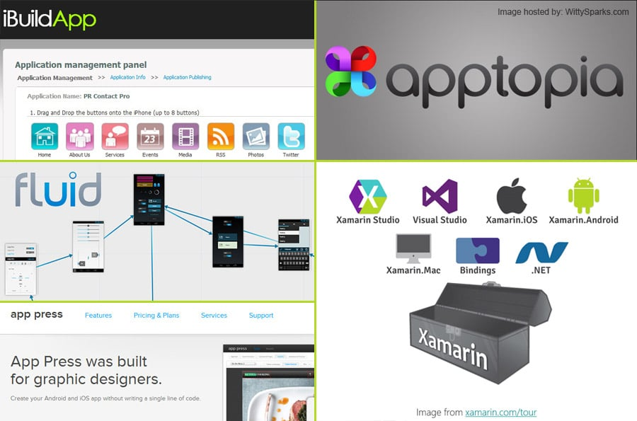 iBuildApp, AppTopia, Fluid, Xamarin, AppPress