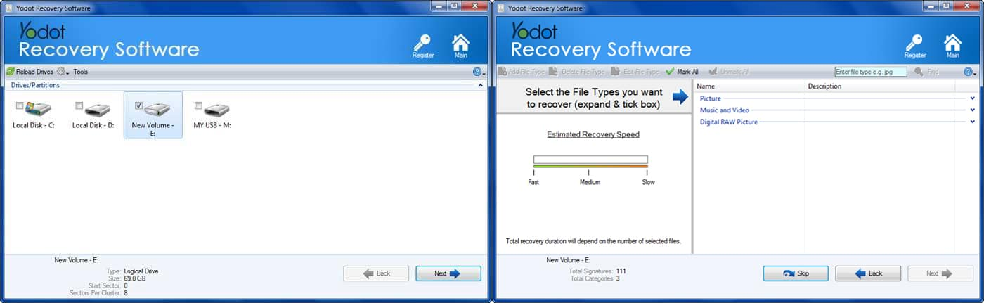 Yodot recovery software select drive