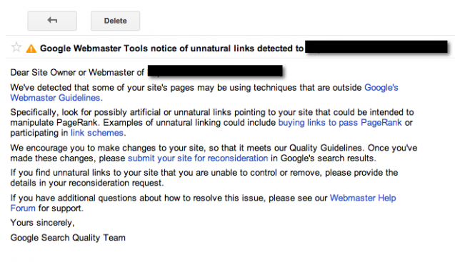 Google Webmaster Tools - Penalty