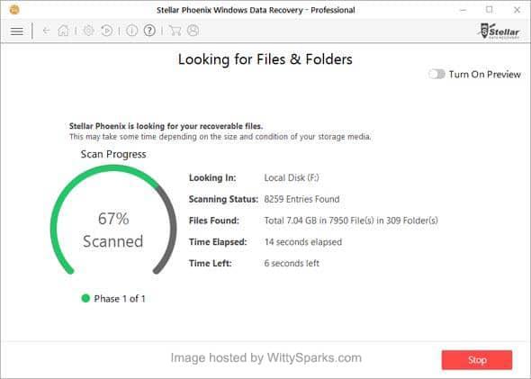 Windows data recovery - dashboard